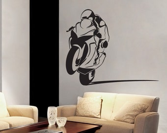 Motorcycle Racer - Sportbike - Power Wheelie Biker - Wall Decals - Your Choice of Color