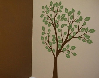 Tall Tree Waving in the Wind - 7 feet tall - Two Color - Wall Decals - Your choice of colors -