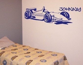 Formula 1 - Race Car - Personalized - Wall Decals - Your Choice of Color -