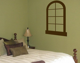 Faux Window - Vinyl Wall Decal - Your Choice of Color