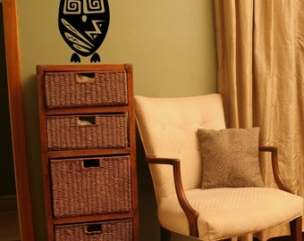 Little Tribal Owl - Wall Decal - Your choice of color