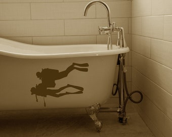 Divers Going Deep - Vinyl Decals - Wall - Bathtub - Glass - Car - Your Choice of Color -