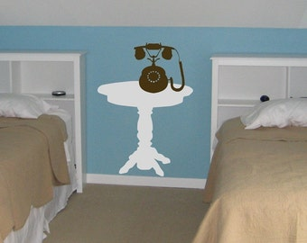 Side Table and Old Fashioned Telephone - Vinyl Wall Decals - Decal Furniture - Your Choice of Colors