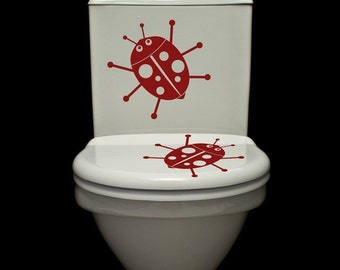 Lady Bugs - Set of Two - Toilet Decals - Wall Decals - Your Choice of Color