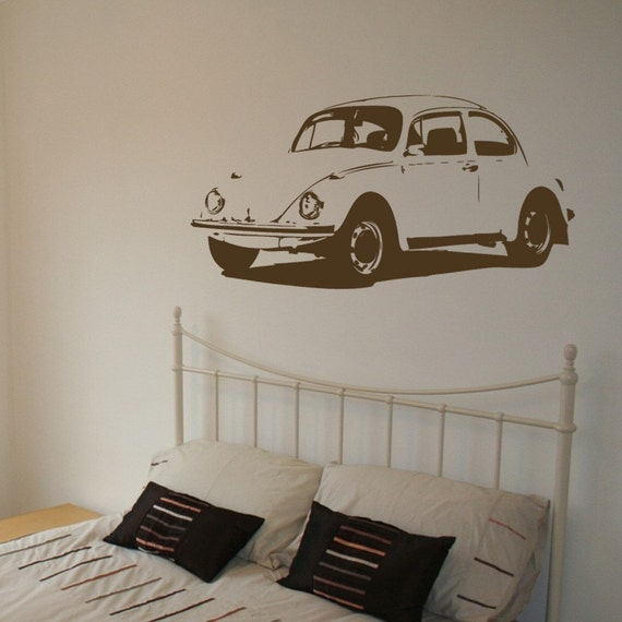 VW Beetle - Vintage - Vinyl Wall Decal - Your Choice of Color