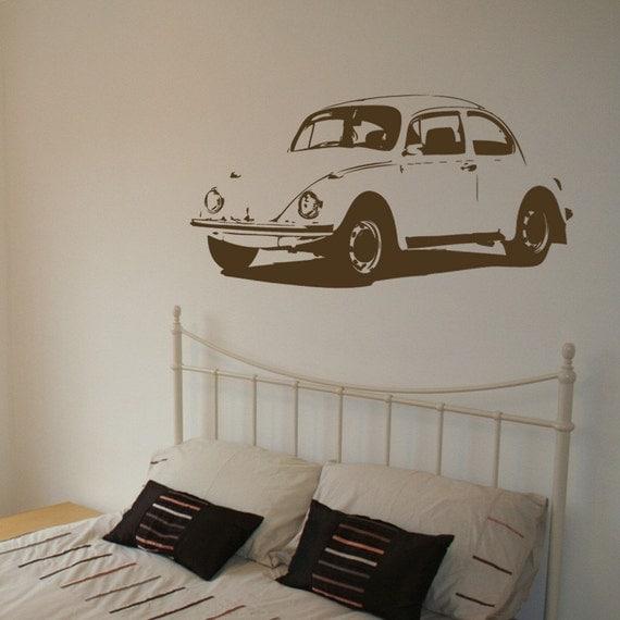 VW Beetle - Vintage - Vinyl Wall Decal -