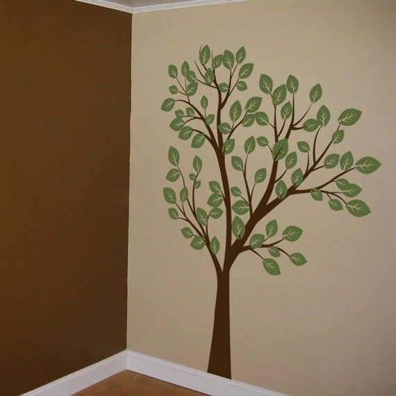Tall Tree Waving in the Wind - Two Color - Vinyl Wall Decals - Your choice of colors