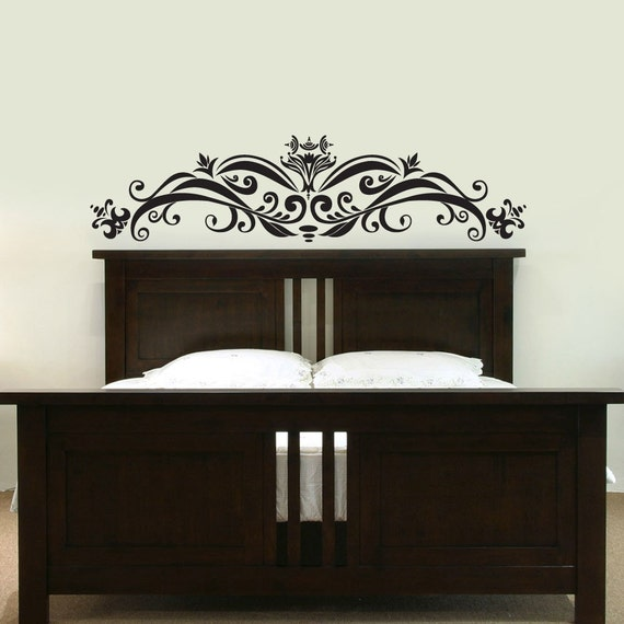 Ornate Headboard Vinyl Wall Decal Your Choice Of Color
