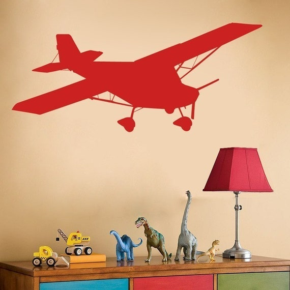 airplane decal wall decals boys room kids room your. Black Bedroom Furniture Sets. Home Design Ideas