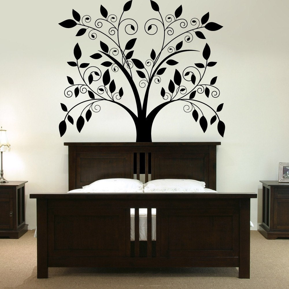 Giant tree with falling leaves vinyl wall by for Bedroom wall decals
