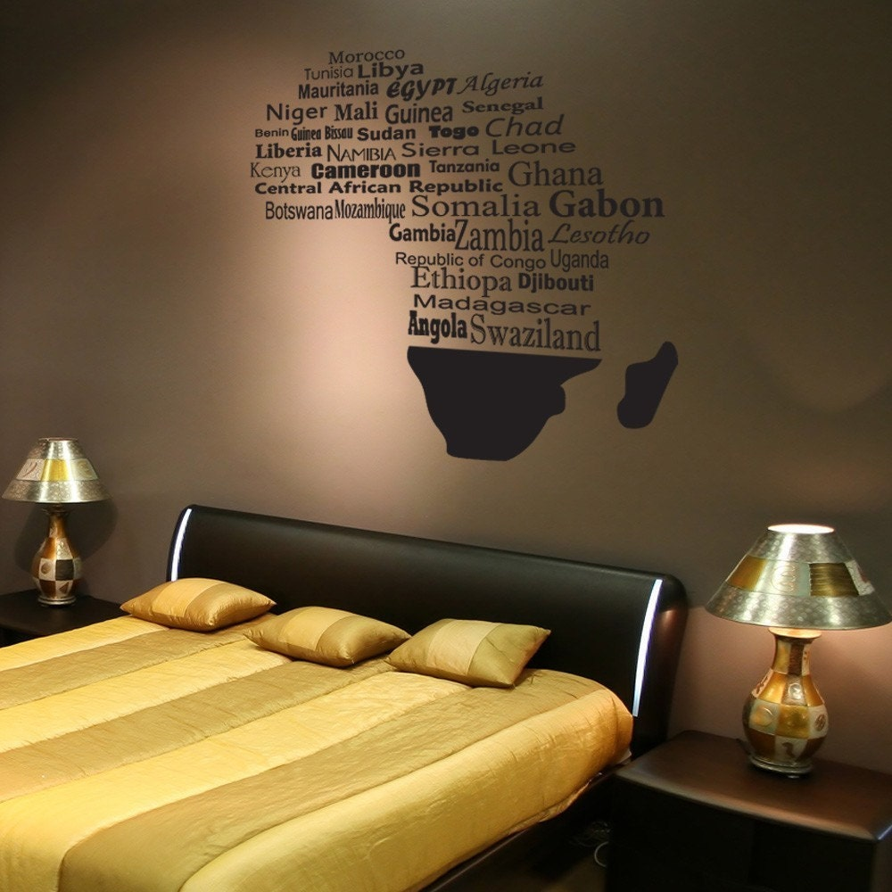 Giant Africa Map With Countries Vinyl Wall By BadassCustomDecals