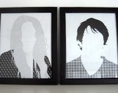 Custom couple hair portraits (pair)