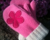 Recycled PINK flower wool mittens womans