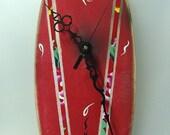 Surfboard clock - Red