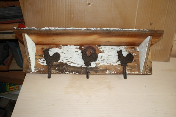 Barn Wood Wall Shelf with Rooster Hooks