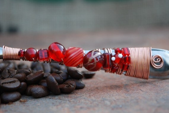 Reserved for 1313Designs-Coffee Scoop with Red Beads