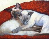 Akiko Open Edition Print of Sleeping Siamese Cat Painting (8x10)