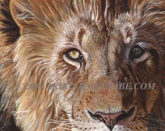 Akiko Open Edition Print of a Lion Face Painting (8x10)