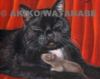 Akiko Open Edition PRINT Black Cat and Mouse Rat Painting Art 7x7