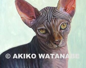Akiko O/E PRINT of Sphynx Sphinx Cat Painting 8x10 -Sunitha