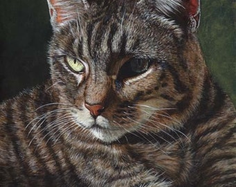 Akiko Open Edition Print of Gray Tabby Cat Painting (8x10)