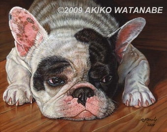 Open Edition Print of French Bulldog Dog Painting
