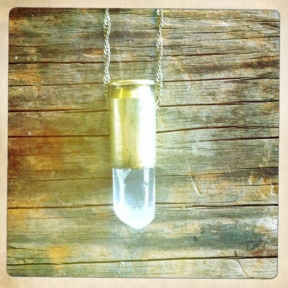 Bullet crystal necklace- quartz crystal