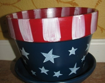 Flower Pot ... USA, 4th of July, Stars and Stripes