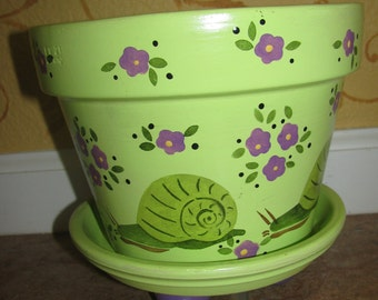 Snail Flower pot ... Greens and Purples