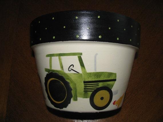 John Deere Flower Pots : Flower pot tractor farm animals