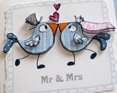 Mr and Mrs Love Bird wedding card