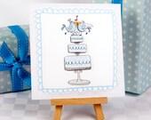 Love Birds Wedding Cake Greeting Card