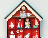 A doll house with dolls and toys , kids room decor, wall decor, wall art, art for children, girls room