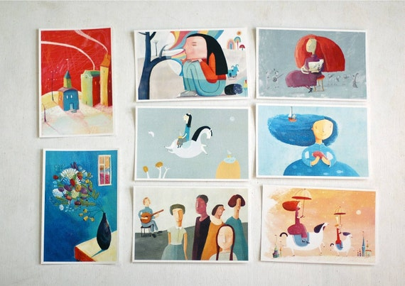 8 postcards, card set, nursery art, home decor, wall decor, art print, kids wall art
