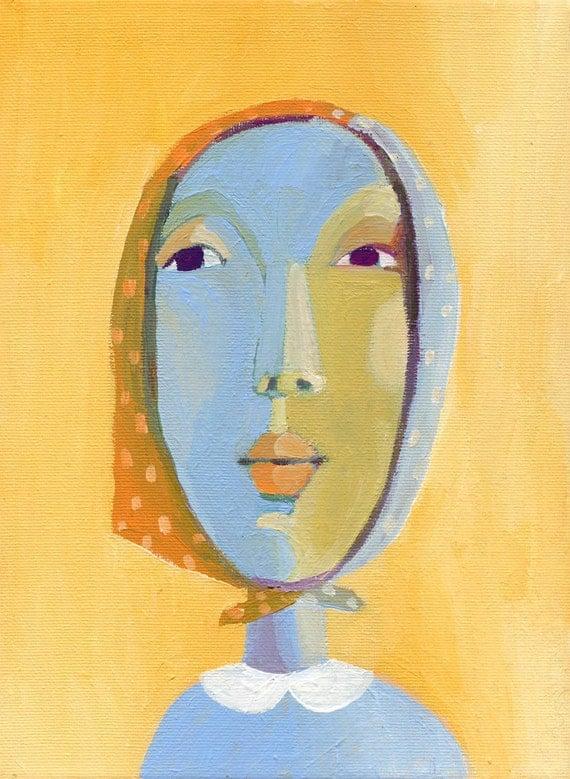yellow portrait  original painting on canvas