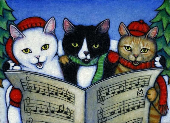 We Wish you a Meowy Christmas. Set of 5 cards on recycled paper.