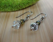 Antiqued Crystal Earrings-Green and Clear