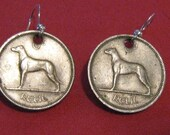 Authentic  Old  Irish  Celtic  Greyhound Dog  Coin Earrings