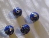 Wholesale  Lot  Of  Four  10MM Lapis  Color  Intarsia  Gemstone  Inlay Globe Beads