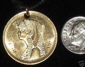 Authentic Gold Egypt Egyptian Cleopatra Coin Charm Pendant Necklace