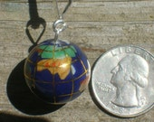 Small Lapis Globe World Earth Pendant With Assorted Inlay Gemstones