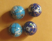 Wholesale  Lot  Of  Four  12MM Lapis and Turquoise  Color  Intarsia  Gemstone  Inlay Globe Beads