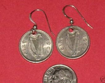 Authentic  Vintage  Irish  Harp/ Rabbit  Coin Pair Of Earrings