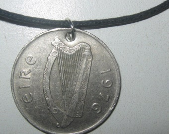 Authentic Reversible Ireland Irish Celtic Harp Fish Coin Pendant Necklace Jewelry
