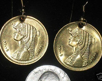 Authentic Gold Egyptian Queen Cleopatra Coin Earrings