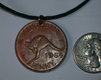 Vintage  Austrailian Rustic Kangaroo Penny Coin Necklace