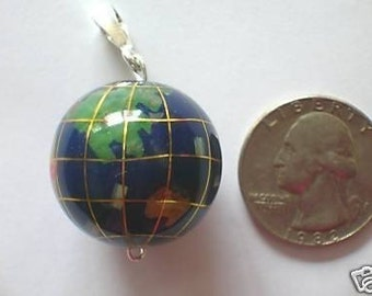 Large Lapis Color Globe World  Pendant With Assorted  Inlay  Gemstones
