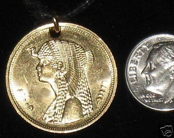 Authentic Gold Egypt Egyptian Cleopatra Coin Pendant Necklace