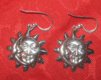 One Of A Kind Silver Sun Crescent Moon Astrology  Earrings