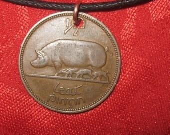 Authentic Irish Celtic Coin Pendant  Harp Pig Copper Ireland
